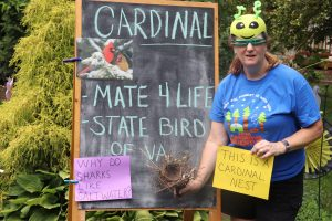 "Bean stands before a chalkboard reading ""Cardinal - mate 4 life - state bird of Va"" with papers reading ""This is a cardinal nest"" and ""Why do sharks like salt water?"""