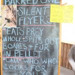 "Sign reading ""Where do owls stay while on vacation"" and chalkboard reading ""Barred owl - silent flyers - eats prey whole - spits out bones and fur in pellet - call who who cooks for you?"""