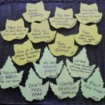 post-it notes in the shape of tree leaves